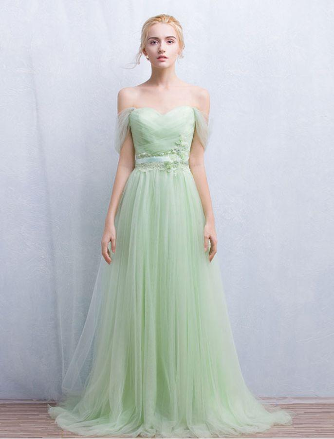 Green Prom Dress Off-the-shoulder Floor-length Chic Prom Dress,PD4558930