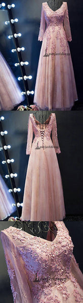 Chic V-neck Prom Dresses, Sexy Long Lace Prom Dresses,PD4558704