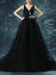 Black Backless Prom Dresses ,Straps A-line Sweep,Brush Train Prom Dress,PD4558723