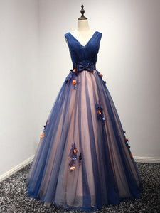 Blue sweetheart neck tulle long prom gown, blue sweet 16 dresses,PD4558916