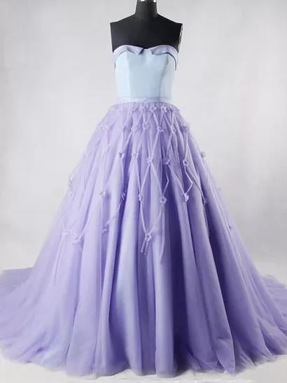Ball Gown Prom Dresses, Sweetheart Sweep,Brush Train Hand-Made Flower Prom Dress,PD4558722