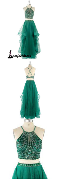 Green two pieces lace long prom dress, lace evening dresses,PD4558917
