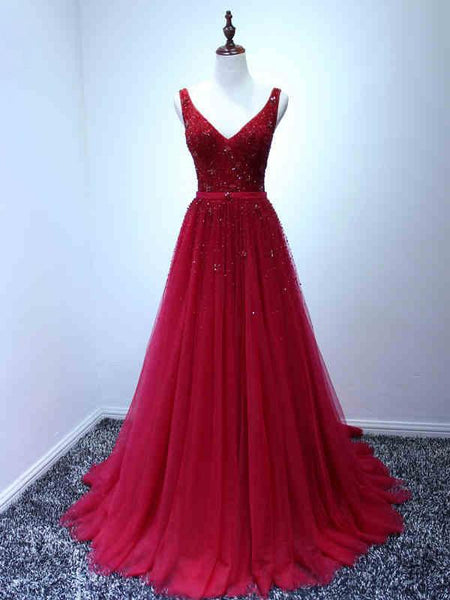 Beautiful Prom Dresses, V-neck Train Beading Long Prom Dresses,PD4558753