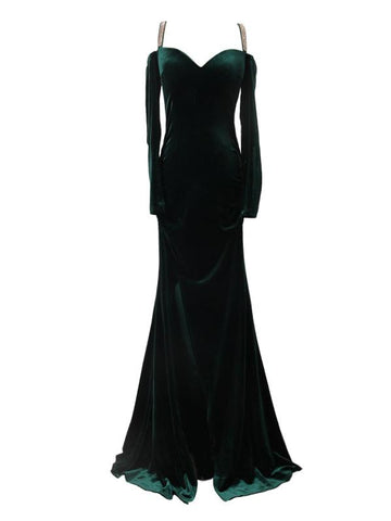Sexy Prom Dresses,Velvet Hunter Long Prom Dresses,PD4558759