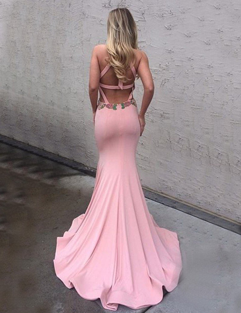 Open Back Prom Dresses Trumpet Halter Sexy Prom Dresses,PD4558940 ...