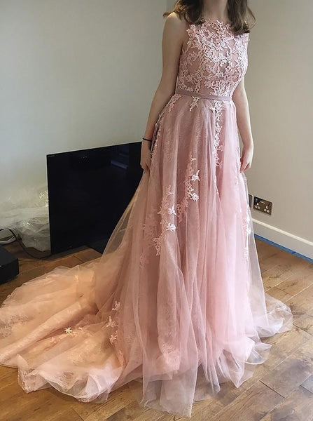 Beautiful Lace Prom Dresses Sweep,Brush Train Prom Dresses,PD4558991