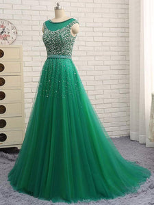 Hunter Green Prom Dresses A-line Short Train Tulle Long Prom Dress,PD4558923