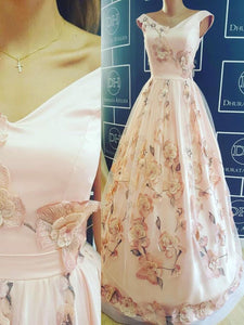 Pearl Pink Prom Dresses, Floor-length V-neck Sexy Hande-Made Flower Prom Dresses,PD4558706