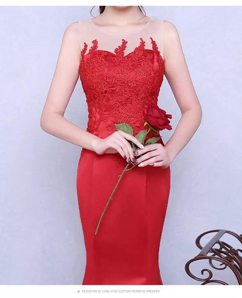 Red Prom Dresses Trumpet,Mermaid Floor-length Satin Sexy Prom Dress,PD4558924