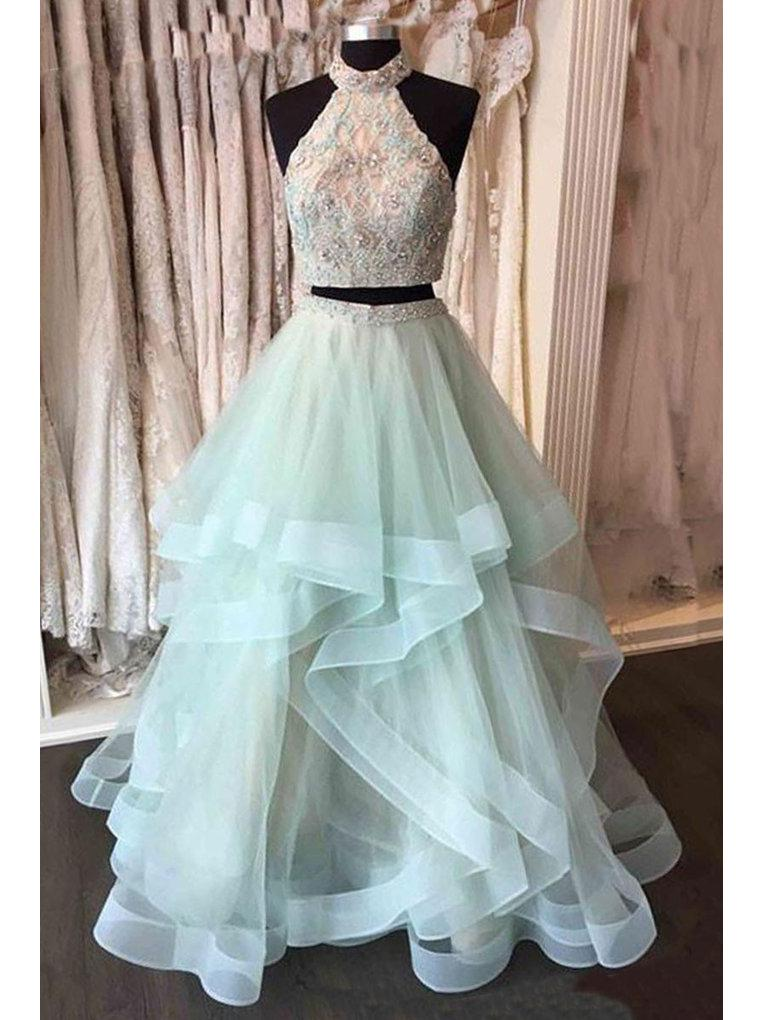 Two Piece Prom Dresses, High Neck Sage Long Sexy Prom Dresses,PD4558739