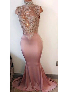 Sexy Prom Dresses, Elastic Woven Satin Trumpet,Mermaid Pink Prom Dresses,PD4558735