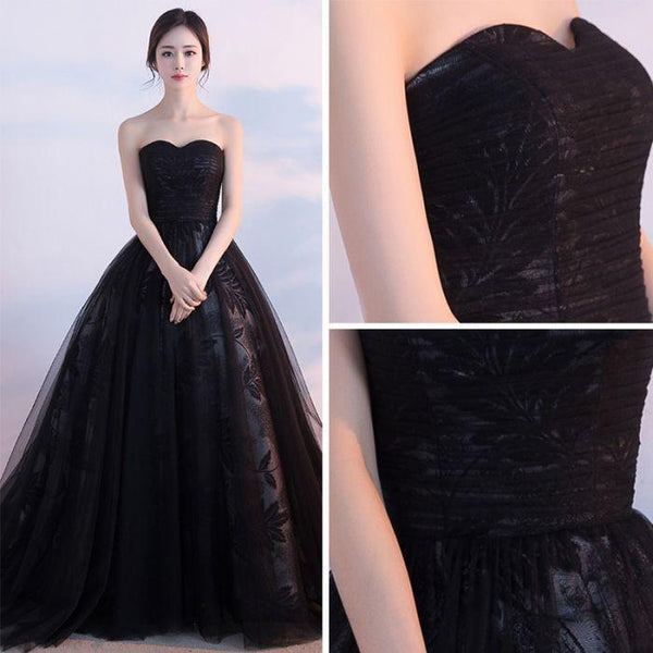 Black Prom Dresses, Ball Gown Lace Sweep,Brush Train Chic Prom Dresses,PD4558744