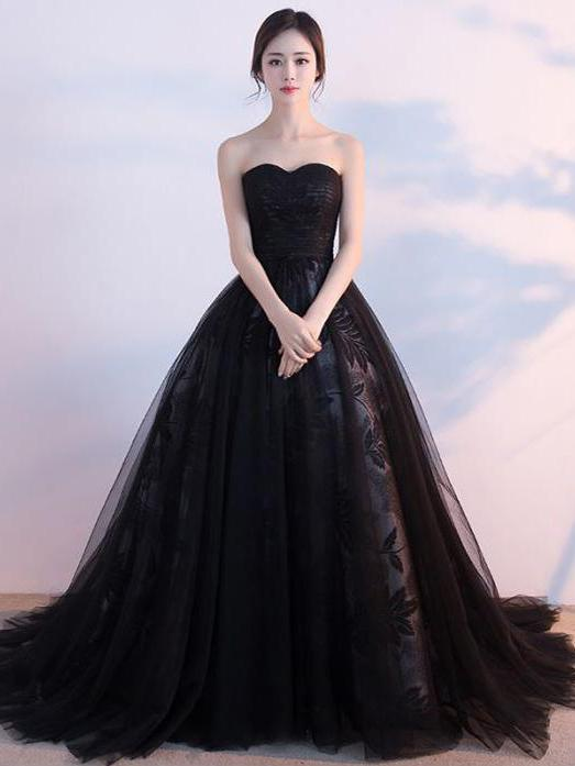 Black Prom Dresses, Ball Gown Lace Sweep,Brush Train Chic ...  |Formal Ball Dresses With Lace
