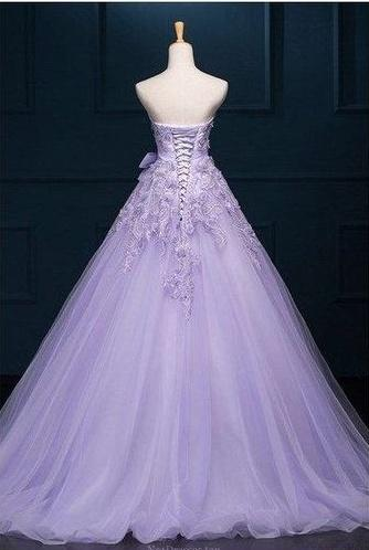 Ball Gown Prom Dresse,s Floor-length Appliques Lilac Long Prom Dresses,PD4558740