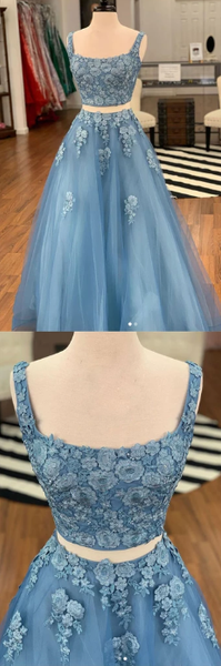 two pieces blue tulle with appliques long prom dress, HO235