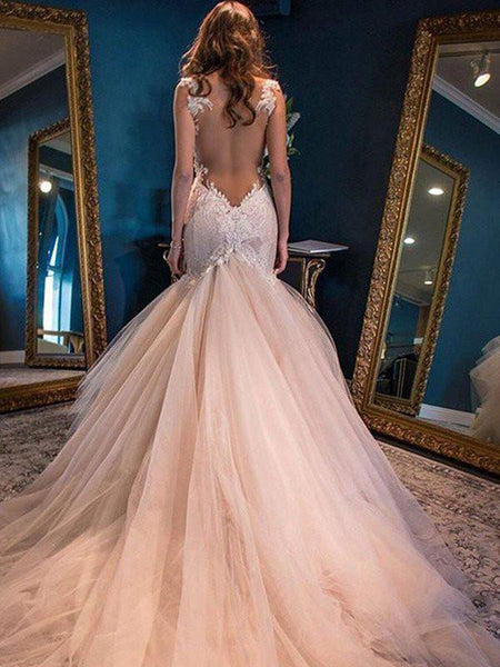 SheathColumn Scoop Sweep,Brush Train Tulle Prom Dresses, Evening Dress,PD4558728