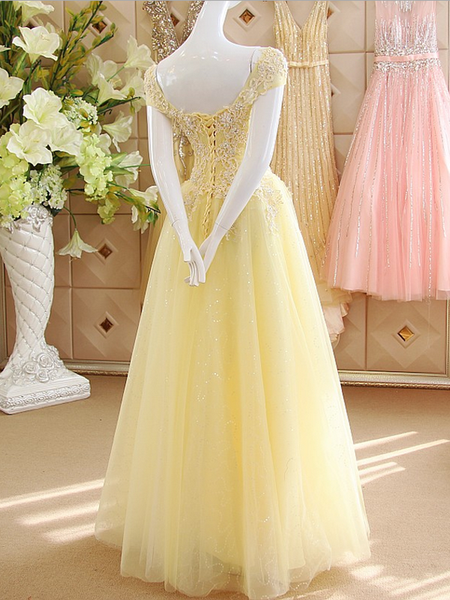 Prom dresses A-line Off-the-shoulder Floor-length Tulle Prom Dress,PD4558983