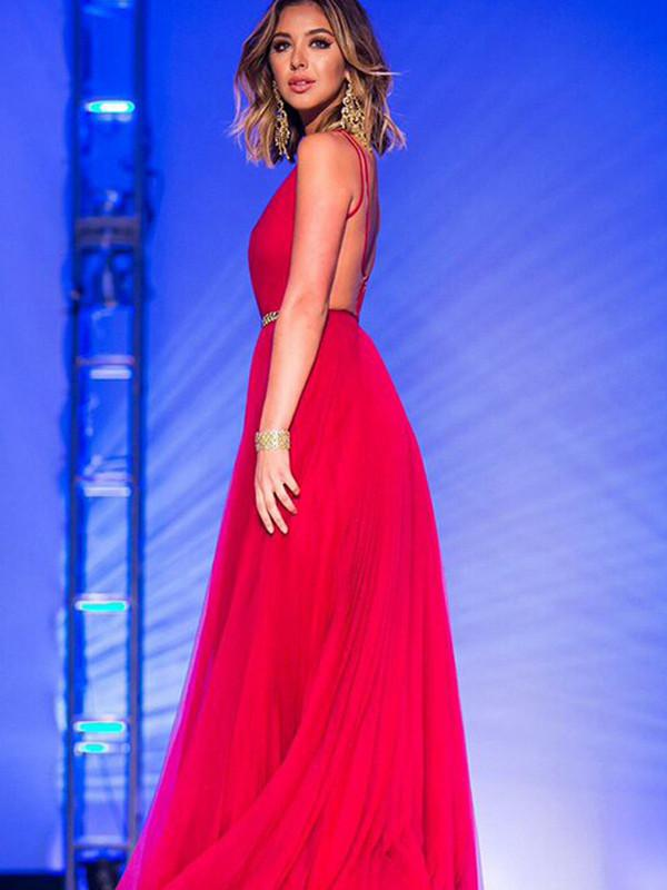 Red beautiful prom dresses A-line V-neck Floor-length Chiffon Prom Dress Evening Dress,PD4558988