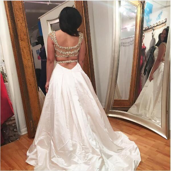 2018 Long Prom Dress A-line Beading Prom Dress Evening Dress,PD4558720