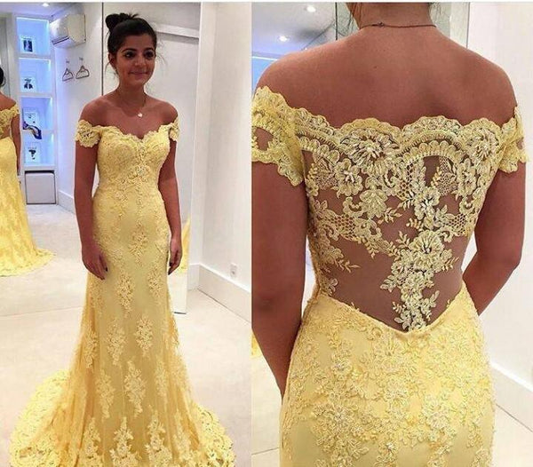 Sexy Off-the-shoulder Long Prom Dresses, Short Yellow Prom Dresses,PD4558718