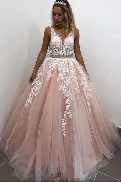 tulle with appliques long A-line prom dress, HO248