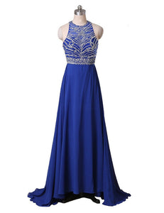 beaded evening Dress,charming Prom Dress,long prom dress,chiffon prom dress,Back Cross evening dress,BD2967