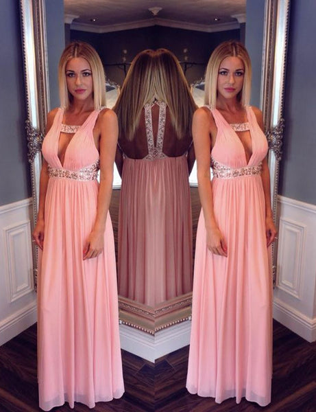 pink Evening Dress,v-neck Prom Dress,chiffon prom dress,cheap prom dress,formal evening dress,BD2961