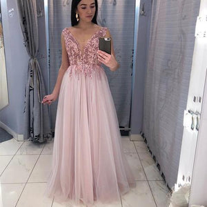 Elegant V Neck Tulle Appliques Long Prom Dress, Cheap Evening Party Gowns, BH91201
