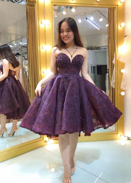 Short Sweetheart Beading Homecomig Dress, BH91192