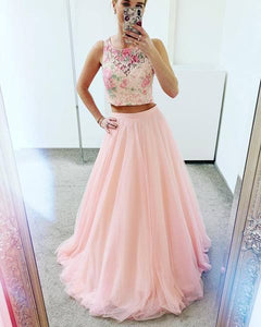 Two Piece Pink Prom Dress, Appliques Tulle Long Homecoming Dress, BH91205