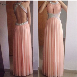 Blush Pink Prom Dresses,Long Prom Dress,Chiffon Prom Dresses,A-line Prom Dress,Cheap Prom Dresses,PD00163