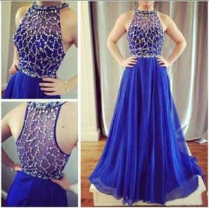 A-line Prom Dresses,Royal Blue Prom Dress,Halter Prom Dresses,Fashion Prom Dress,Cheap Prom Dresses,PD00202
