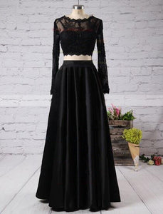 Black Prom Dress, Long sleeves Prom Dress, Two pieces Prom Dress, Long Prom Dress, 2016 Prom Dress, BD074