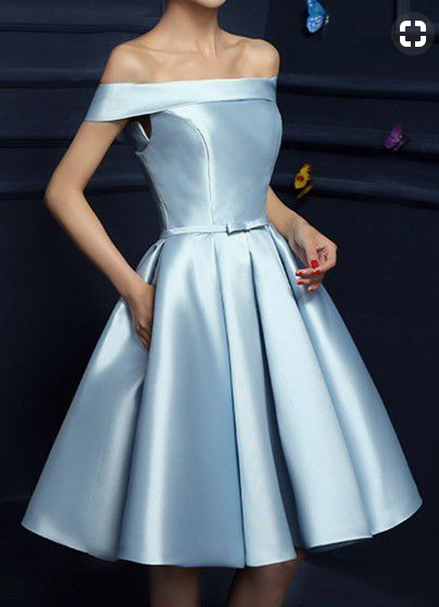 Homecoming dress,Light Blue Prom Dress,Graduation dress, Party Dress,satin,PD45489