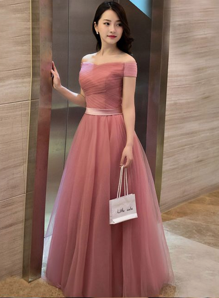 Little Cute | Elegant pink A line off shoulder tulle long prom dress, evening dress | Online Store Powered by Storenvy,PD45793