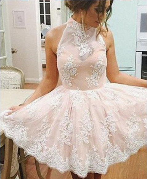 High Neck Light Pink Lace Back O Short Prom Dresses Party Homecoming Dress,PD455828