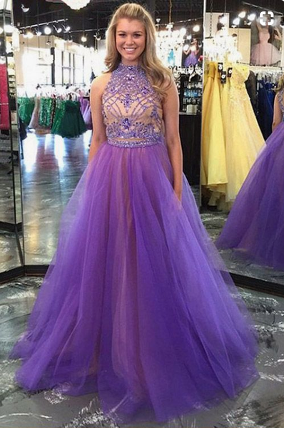 Two Piece Prom Dresses, Princess Prom Gowns, Long Formal Dresses, Beading Evening Dresses, High Neck Girls Party Dresses,BD455859