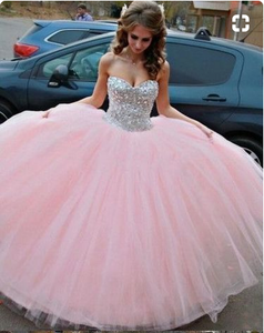Modest Ball Gown Sweetheart Long Tulle Beading Quinceanera Dress Pink Sweet 15 Dresses 16 Gowns, PD4558895