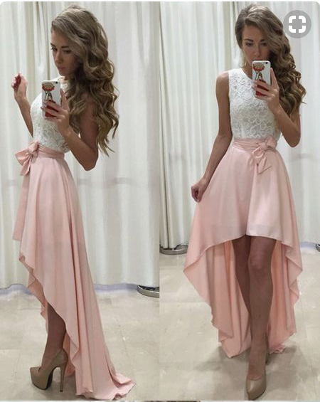 Sleeveless Lace Chiffon Straps A-line Hi-Lo Newest Prom Dress cheap prom dress,prom dresses,2018 prom dress, PD4558896