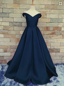 Off Shoulder Evening Prom dresses, A line Long prom dress, Simple prom dress, prom dress 2018, PD4558898
