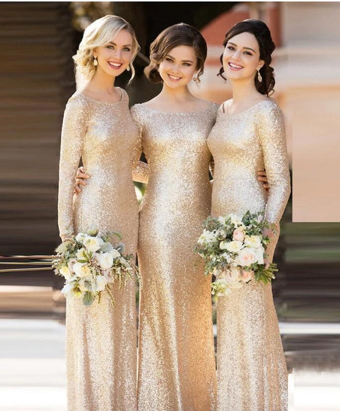 Champagne Bridesmaid Dresses,Sequin Bridesmaid Dress,Long Sleeves Bridesmaid Dress,Charming Bridesmaid Dress,PD2
