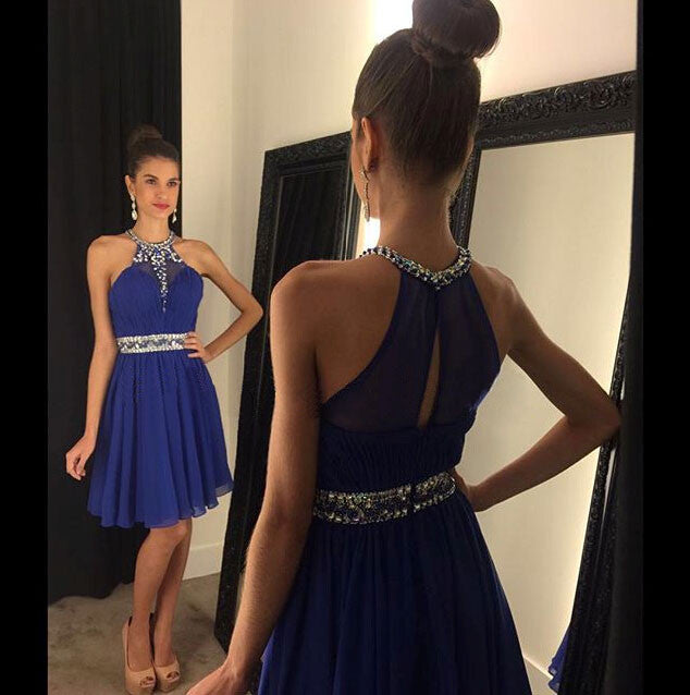 homecoming dress,royal blue Prom Dress,short Prom Dress,chiffon Prom Dress,party dress,BD773