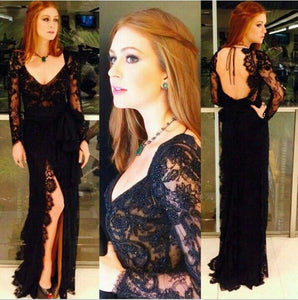 black prom Dress,lace Prom Dress,slit prom dress, long prom dress,evening party dress,BD660