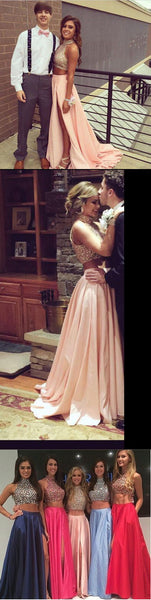 Sweetheart Prom Dresses,Two Pieces Prom Dress,High Neckline Prom Dress,A-line Prom Dress,Slit Side Prom Dress,PD006