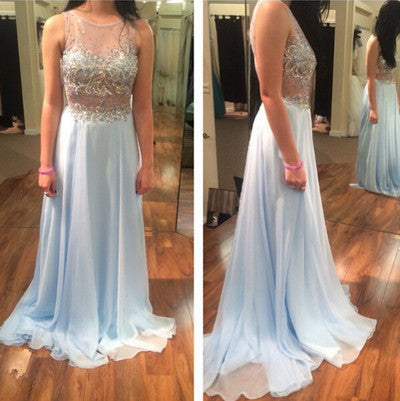 ice blue Prom Dress,long Prom Dress,charming Prom dress,chiffon prom Dress,evening dress,BD615