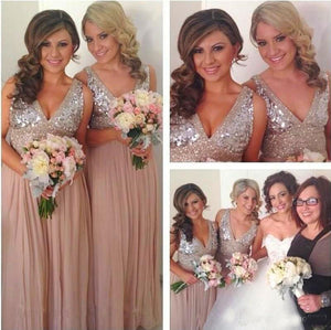 Sequin Bridesmaid Dresses,V-neck Bridesmaid Dress,A-line Bridesmaid Dress,Cheap Bridesmaid Dresses,New Arrival Bridesmaid Dress,PD00190