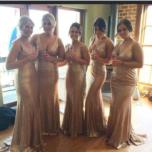 V-neck Bridesmaid Dresses,Mermaid Bridesmaid Dress,Floor-length Bridesmaid Dress,Cheap Bridesmaid Dresses,Hot Sale Sequin Bridesmaid Dress,PD00195