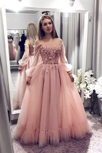 off shoulder light pink tulle princess long prom dress, HO236