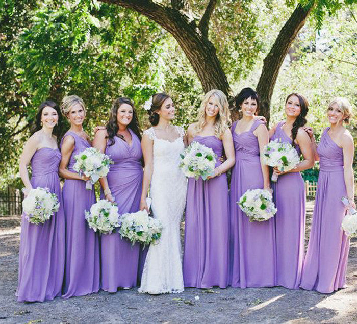 purple bridesmaid dress,long bridesmaid dress,mismatched bridesmaid dress,chiffon bridesmaid dress,BD1639
