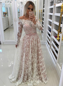 off shoulder long ivory lace long sleeves prom dress, HO231